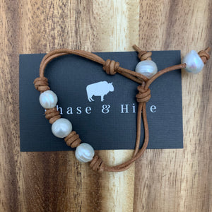 Natural Brown and Freshwater Pearl bracelet #139