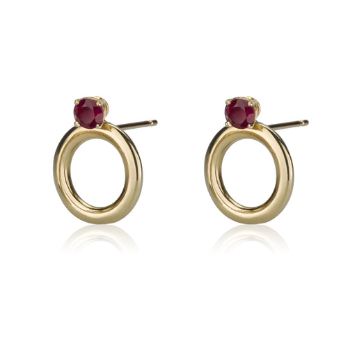Round Earrings - Rubies