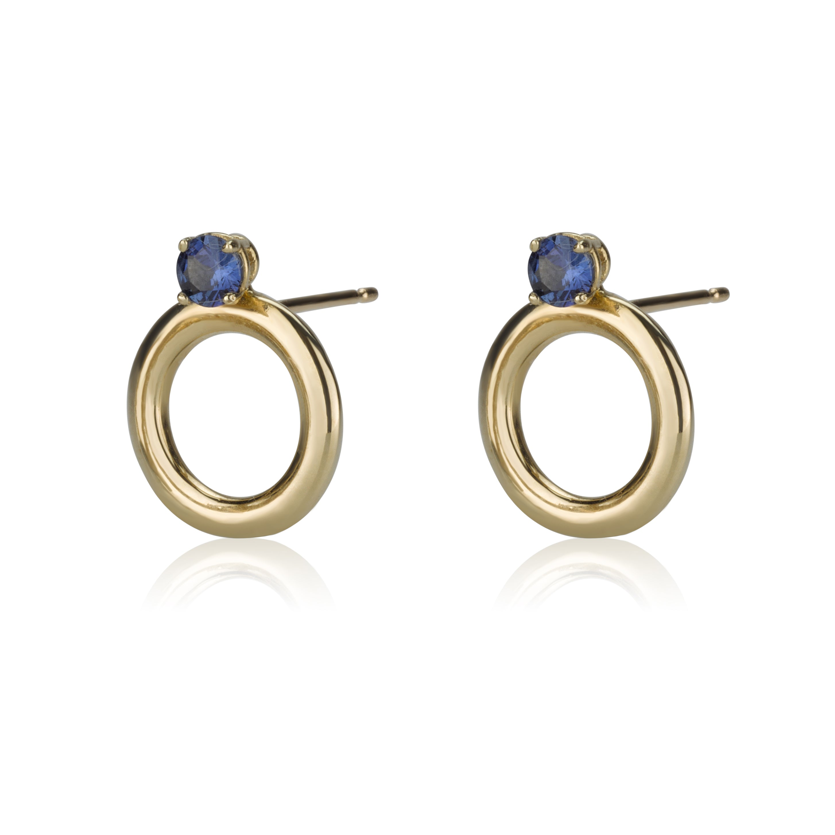 Perfectly Round Earrings With Sapphires