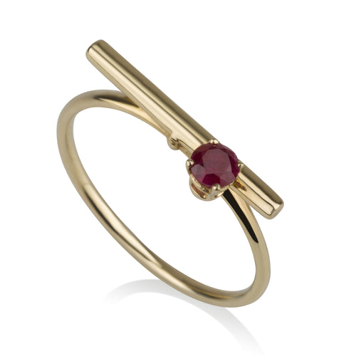 Line Ring - Ruby