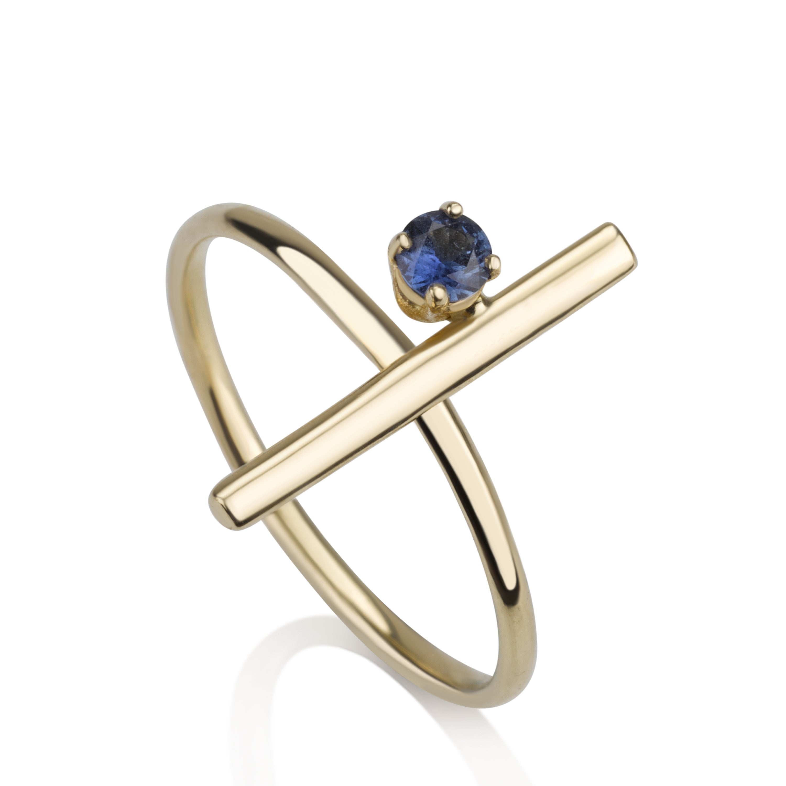 Vertical Ring - Sapphire