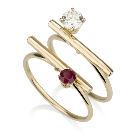 Line Ring - Side Rubies