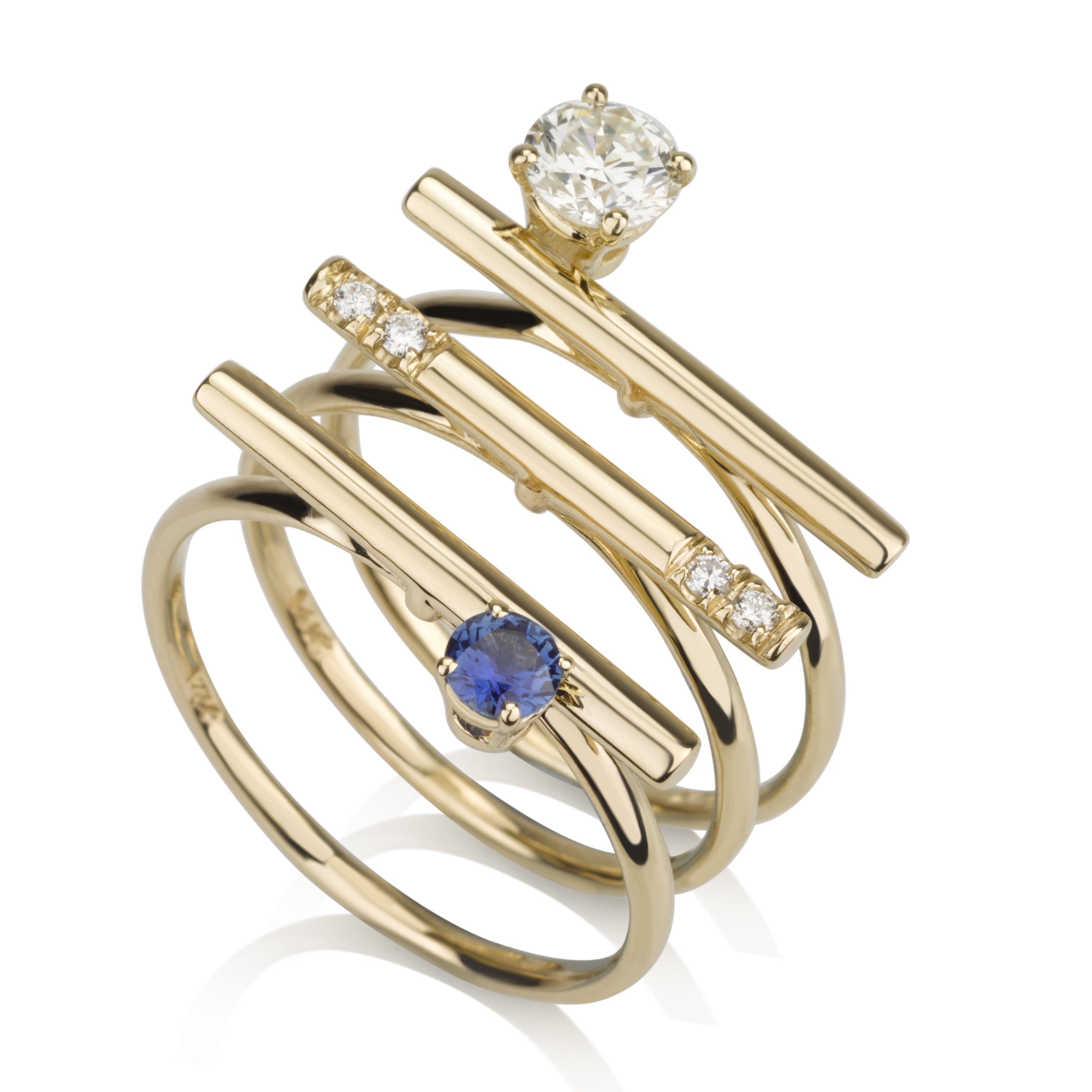 Three Lines Rings Set - Diamonds & Sapphire