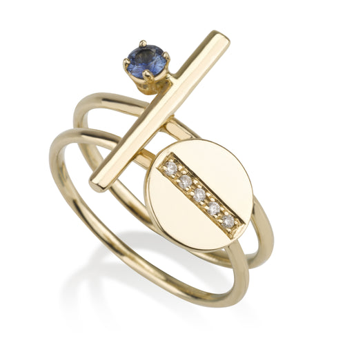 Ring Set - Sapphire & Diamonds