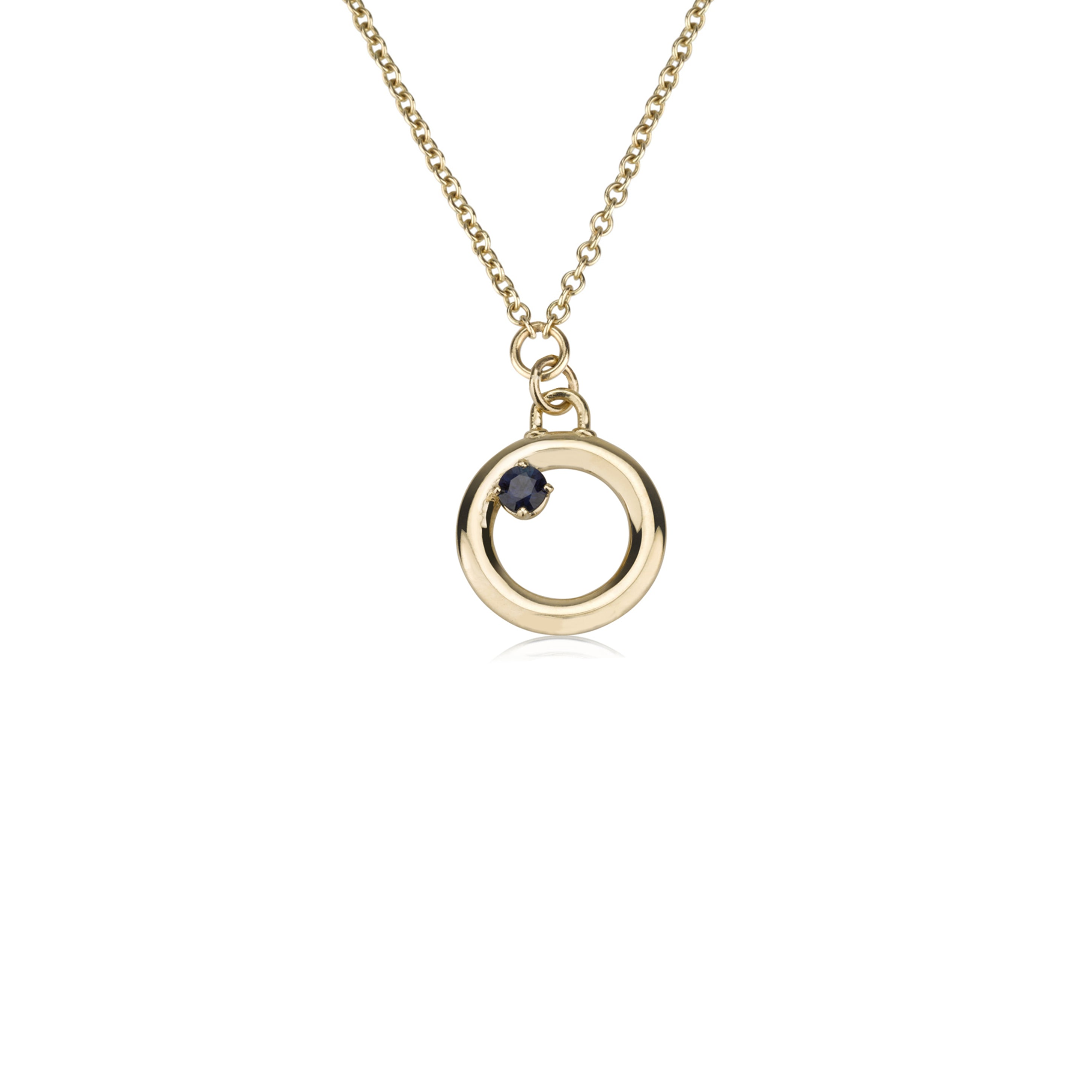 A Circle & A Sapphire Necklace