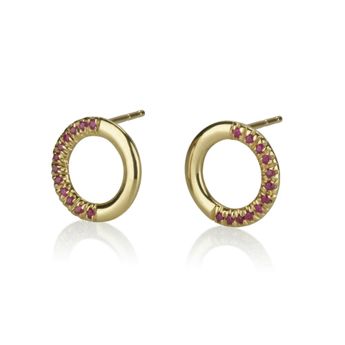 Half Set Ruby Round Earrings