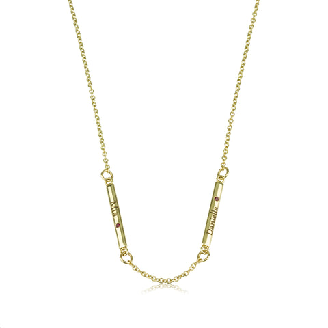 Line Necklace - Side Gems