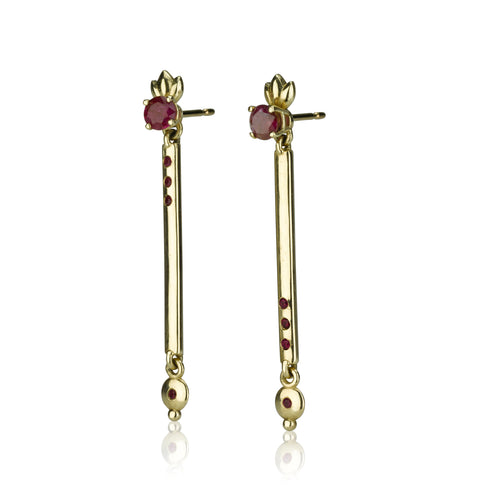 Nom's Earrings - Rubies