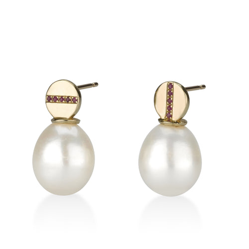Gold, Pearl and Ruby Earrings