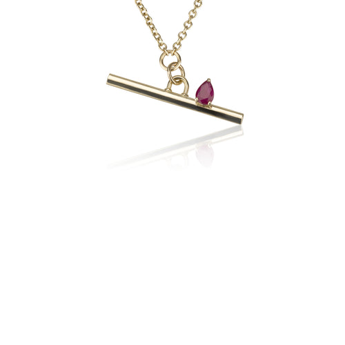 Line Necklace - Ruby