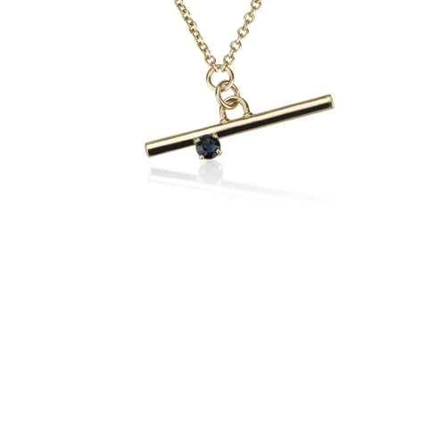 A Gold Line Necklace - With A Sapphire