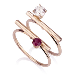 Ring Set - Ruby And Diamond