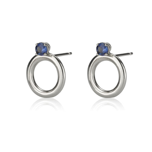 Round Earrings - Sapphires