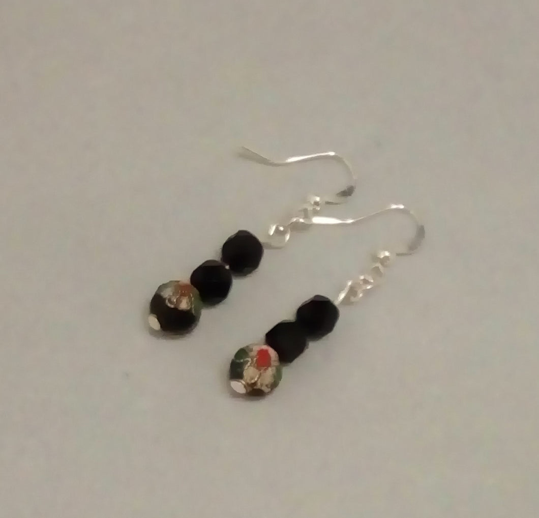 Black Cloisonne and Crystal Glass Bead Dangle Silver Plated Earrings