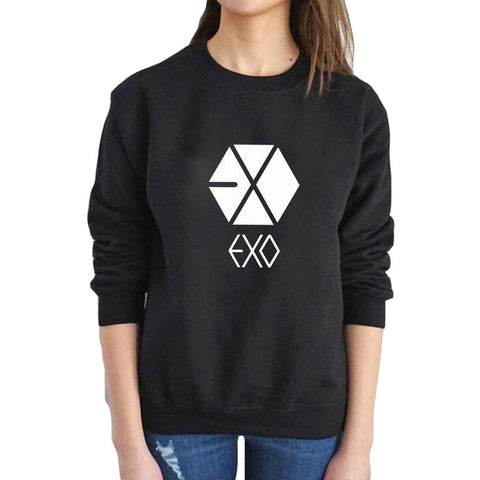 EXO Letter Print Logo Casual Pullover Sweatshirts