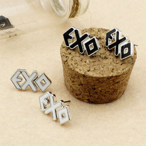 Boutique Jewelry EXO Tag Silver Drop Oil Stud Earrings