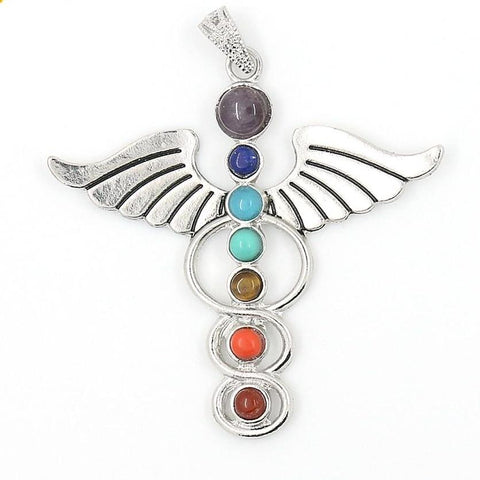 Image of Chakras Natural Stone Pendant Angel Wings 7 Reiki Yoga