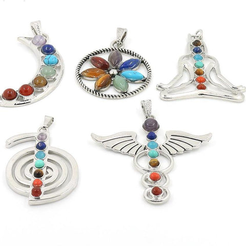 Chakras Natural Stone Pendant Angel Wings 7 Reiki Yoga