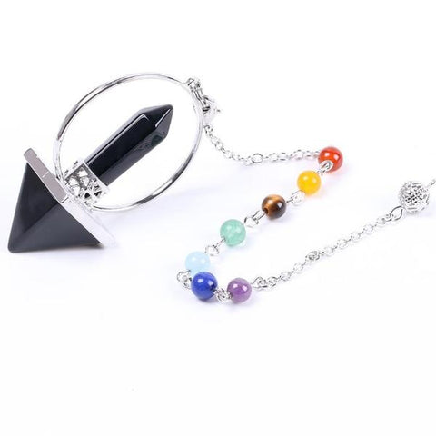 Image of Reiki Healing 7 Chakra Natural Stone Pendulum for Dowsing