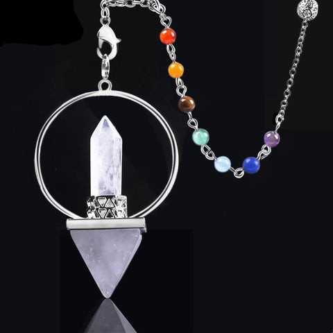 Reiki Healing 7 Chakra Natural Stone Pendulum for Dowsing