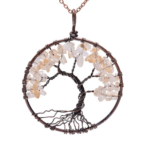 Image of 7 Chakra Tree Of Life Pendant Necklace Copper Crystal Natural Stone