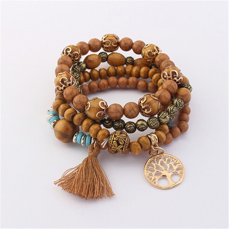 Bohemian Multilayer Natural Stone Wood Beads Bracelet Life Tree Pendant