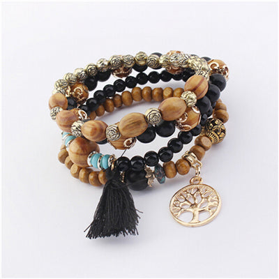 Image of Bohemian Multilayer Natural Stone Wood Beads Bracelet Life Tree Pendant