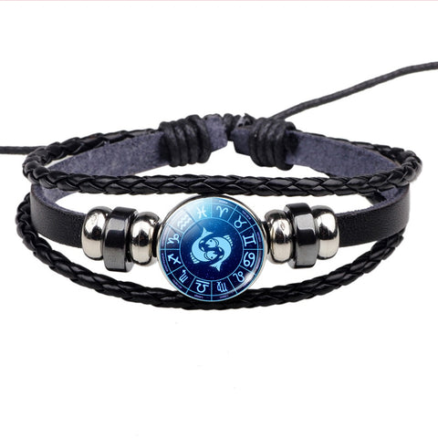 Zodiac Sign Button Bracelet Cancer Leo Virgo Libra Scorpio Gemini 12 Constellation Punk Braided Leather Bracelet