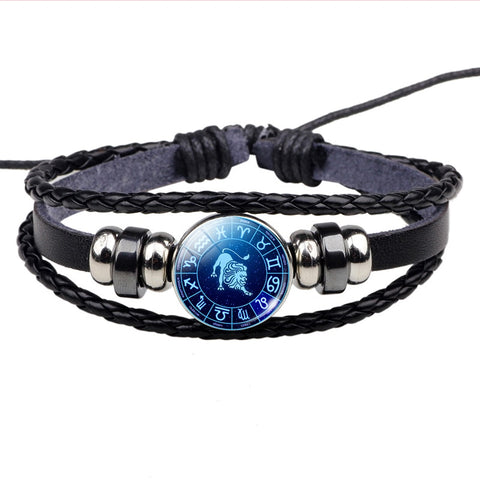 Image of Zodiac Sign Button Bracelet Cancer Leo Virgo Libra Scorpio Gemini 12 Constellation Punk Braided Leather Bracelet
