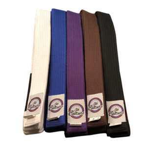 Jits Culture jiu jitsu ranking belts in white, blue, purple, brown, and black. Specifically for bjj with the black bar for ranking stripes.