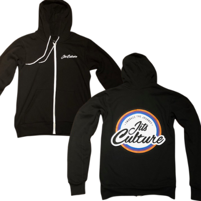 Black Jits Culture zip hoodie with Jits Culture on the left chest and the 5 color rank logo on the back. Great for jiu jitsu students.