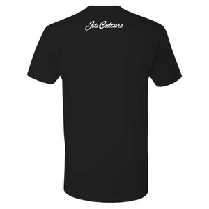 Jits Culture in cursive on the back of a black 60/40 blend shirt. Great for the everyday jiu jitsu practitioner.