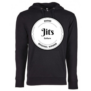 Classic original Jits Culture logo big on the front and a small cursive Jits Culture logo on the back. A pull over unisex french terrier black hoodie. Fabric: 60% cotton/40% polyester French terry fleece 5.3 oz. Great for the everyday jiu jitsu practitioner on and off the mat.