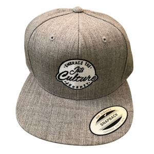 Grey Heather snapback classic hat headwear made for the brazilian jiu jitsu lifestyle culture. hot brand that was made for on or off the bjj mat.