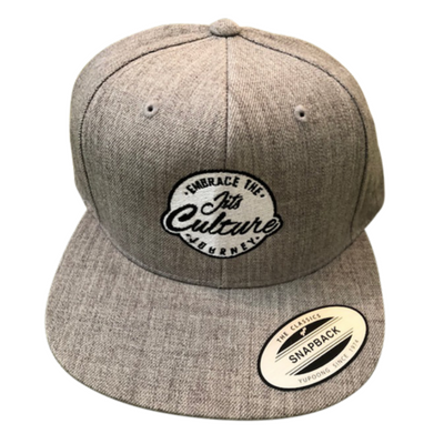 Authentic heather grey snapback hat made by Jits Culture brand for jiu jitsu practitioners looking for premium bjj wear. Comes with the black and white Embrace the Journey Jits Culture logo.