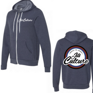 Jits Cultures jiu jitsu lifestyle zip hoodie heather navy premium street wear.