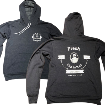 Jits Culture's Fresh Finishes pull over hoodie in navy heather great for jiu jitsu