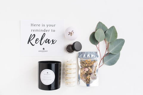 self care box eucalyptus mint soy wax candle facial steam dead sea mud mask lavender bath bomb