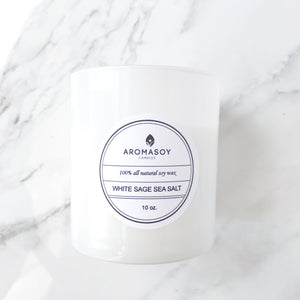 WHITE SAGE SEA SALT Soy Candle White Glass 10 oz