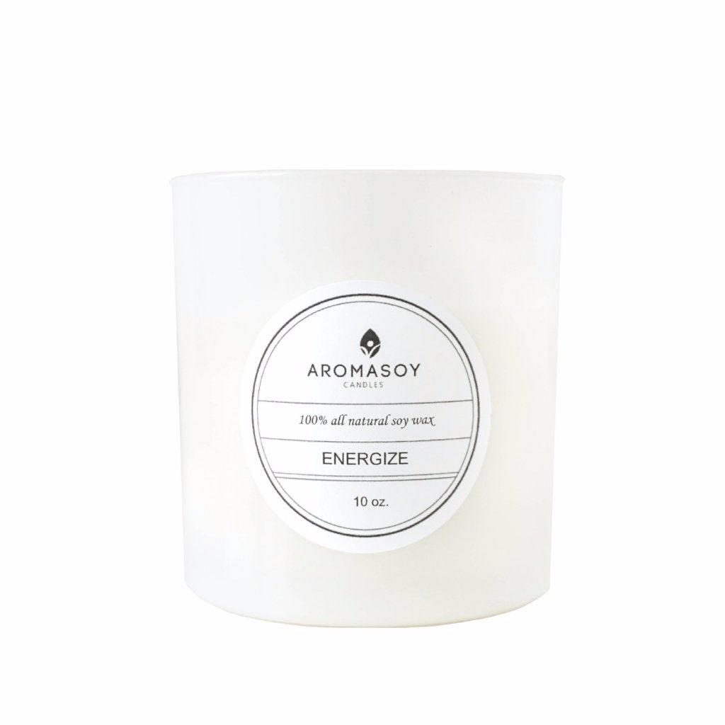 ENERGIZE Soy Candle White Glass 10 oz