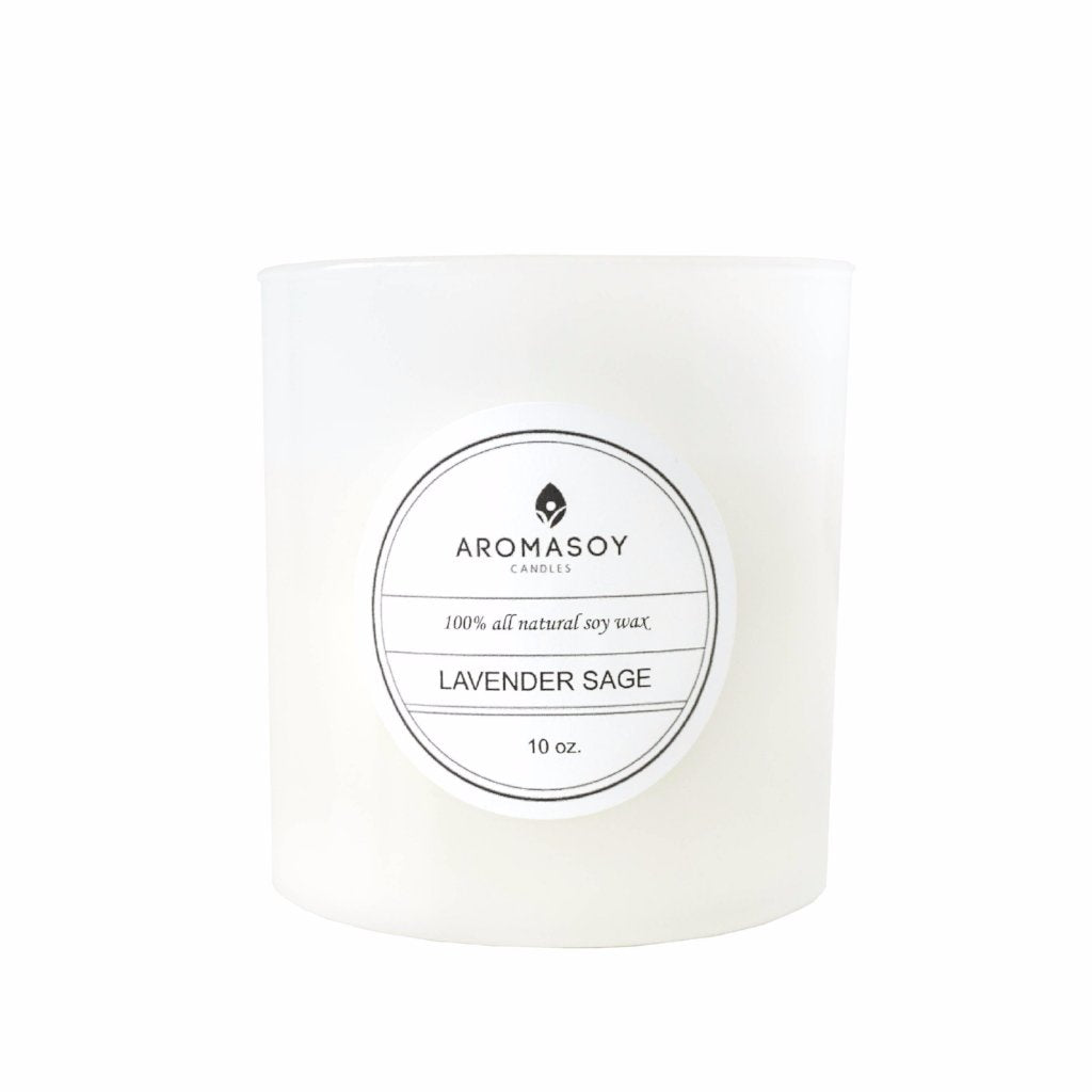 LAVENDER SAGE Soy Candle White Glass 10 oz
