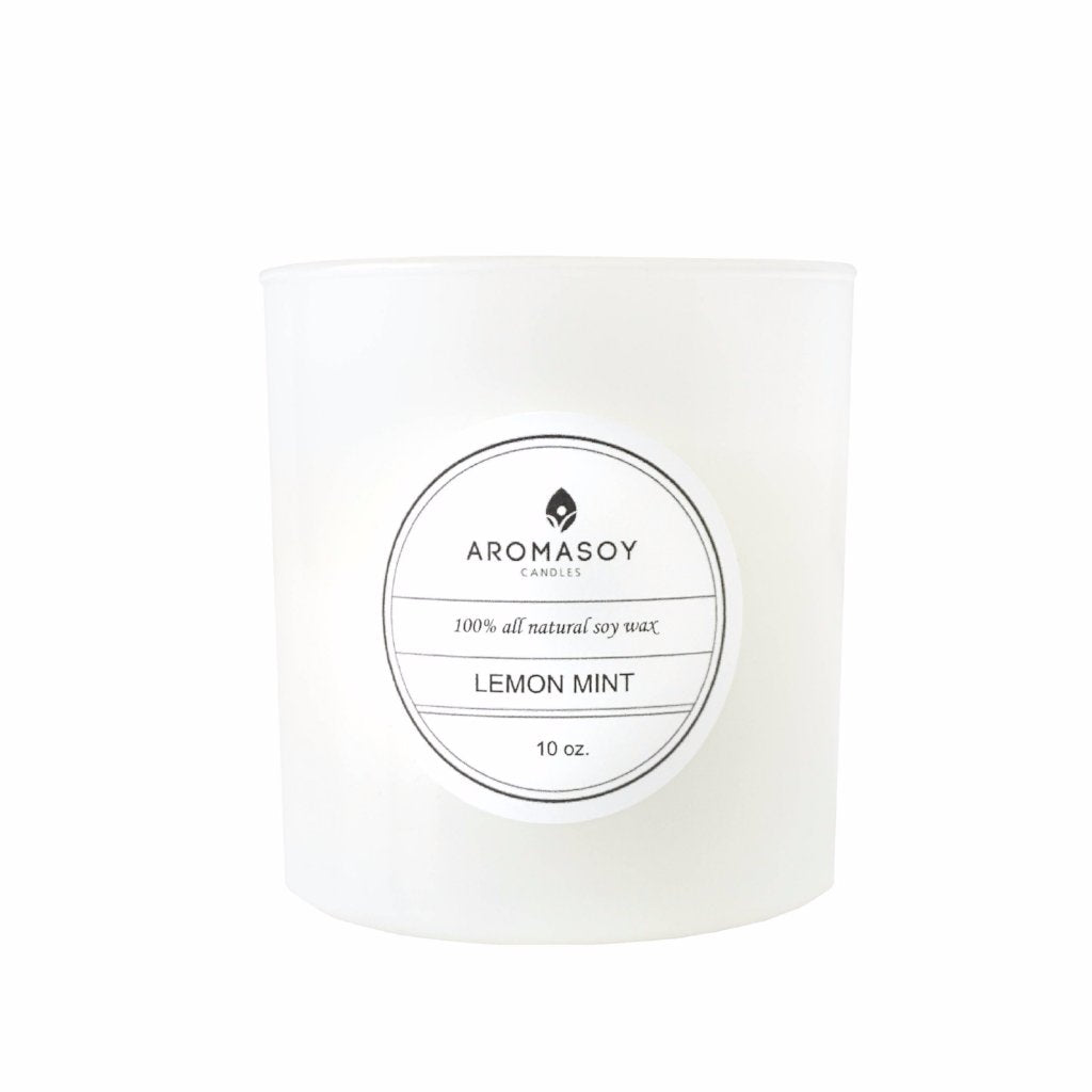LEMON MINT Soy Candle White Glass 10 oz