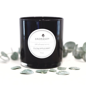 EUCALYPTUS MINT Soy Candle Black Glass 10 oz