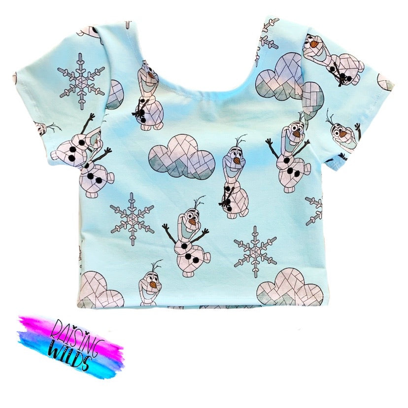 PREORDER Stained Glass Snowman Crop Top