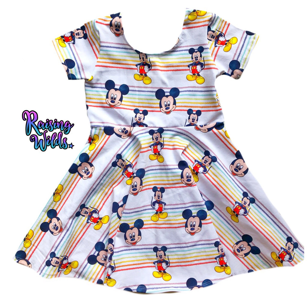 Rainbow Boy Mouse Twirl Dress