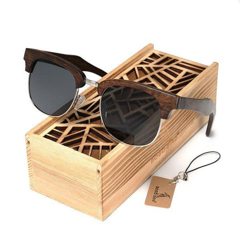 Half Frame Dark Brown Wooden Sunglasses - Wood Addictions