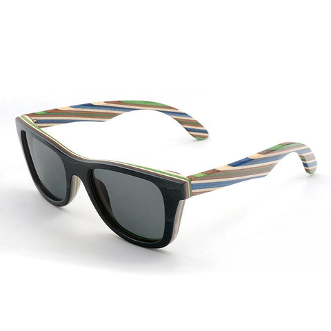 Striped Bamboo Wood Polarized Sunglasses - Wood Addictions