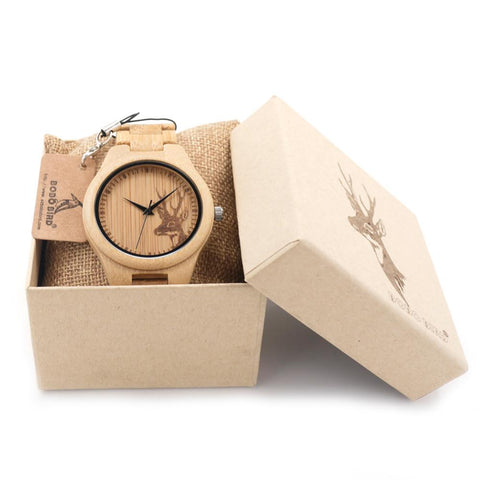 Natural Bamboo Wood Watch | Deer Head Engrave | Bamboo Strap - Wood Addictions