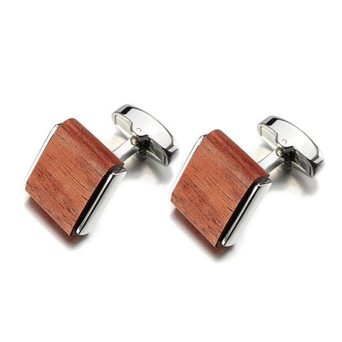Rosewood Square Wooden Cufflinks - Wood Addictions