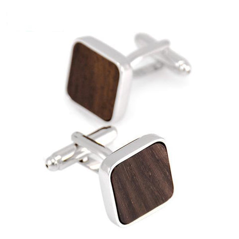 Brown Grain Wooden Cufflinks - Wood Addictions